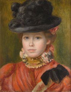 Renoir Pierre-Auguste - Girl in black hat with red flowers Pierre Auguste Renoir, Jean Renoir, Edouard Manet, August Renoir, Renoir Paintings, Impressionist Artists, French Art, Famous Artists, Beautiful Paintings