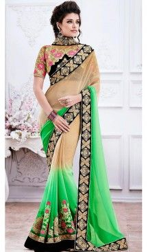 Lime Green Color Chiffon Ethnic Wear Traditional Sarees | FH493075622