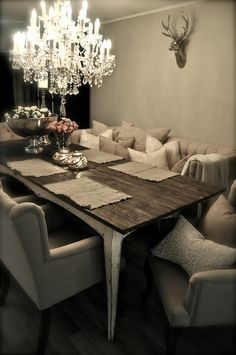 I love this. This looks so cozy and comfy. It would make for good conversations around the dinner table with family and friends :)
