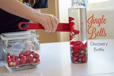 Jingle Bells Magnetic Discovery Bottle with magnet wand by Preschool Inspirations