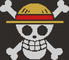 Luffy's Jolly Roger - One Piece perler bead pattern