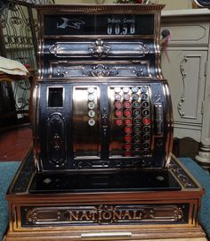 Vintage National Cash Register from the early in mint condition. Vintage Stuff, Vintage Love, Vintage Cash Register, Downingtown Pa, Barbershop Design, Old Country Stores, Typewriters, Vending Machine, My Happy Place