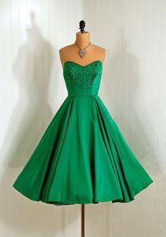 50's emerald green dress