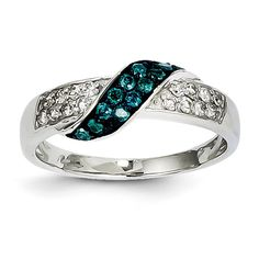 14k White Gold Blue and White Diamond Ring - QGY11916AA - KevinJewelers.com