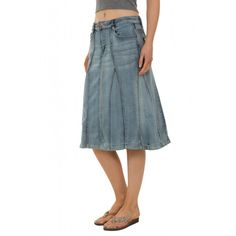 Stretch Denim Long Skirt - Stonewash (Skirt96). Maxi skirt in ...