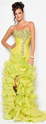 Lemon Lime Ruched & Ruffled Organza Strapless Drop Waist Prom Gown