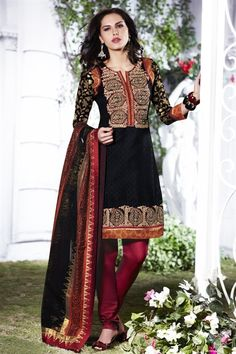 Black & red color suit with stylish dupatta