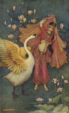 "Warwick Goble | Damayanti and the Swan | For L.B. Day's ""Folk Tales of Bengal"" (MacMillan, 1912)"