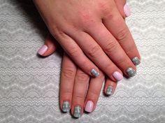 Christmas sweater grey pink gel polish nails