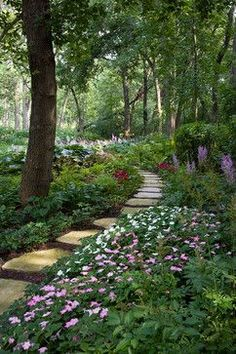 Beautiful flower garden along a path