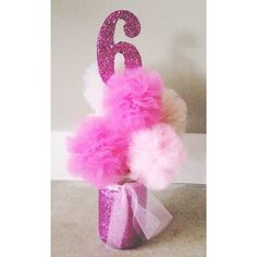 Pink Princess Centerpiece ♥ Hand Glittered Pink Tulle Poms - Party Decoration #princess #party