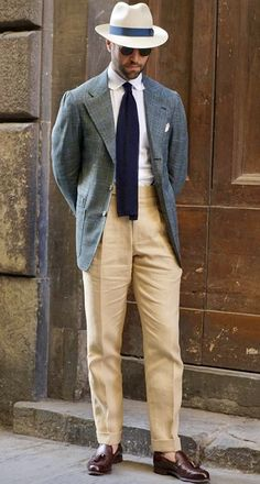 What a fun summer outfit gentlemen! Blue plaid hoaxer with tan pants and white shirt and tie. Dapper and classy all the way! Have this look custom made by Giorgenti New York! Plaid Suit, Pinstripe Suit, Blue Plaid, Mens Wardrobe Essentials, Bon Look, Burgundy Suit, Smart Casual Menswear, Gentlemen Wear, Tan Pants