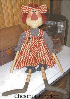 Jane Ann ePattern......primitive country cottage shabby chic cloth doll ornament decoration fabric crafts sewing pattern design decor plushie plush softie craft sew raggedy ann ragdoll patterns by Chestnut Junction.