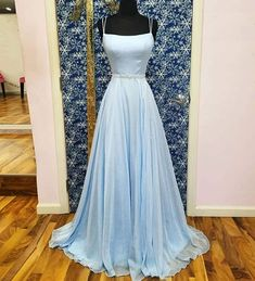 Charming A-Line Square Neck Open Back Light Blue Chiffon Long Prom Dresses with Beaded Belt,Evening Party Dresses – Dress girl – Kleider Baby Blue Prom Dresses, Blue Evening Dresses, Light Blue Dresses, Grad Dresses, Homecoming Dresses, Bridesmaid Dresses, Long Dresses, Chiffon Dresses, Dress Long