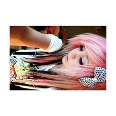 Tumblr ❤ liked on Polyvore featuring hair, girls, people, pink hair and models