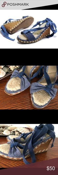 UGG Amelie linen ankle wrap wedge size 6.5 EUC Gorgeous espadrille style wedges. They're so comfortable and in amazing condition! Bundle discount 20%. Smoke and pet free home. Shearling on the footbed and thick cushioned sole. UGG Shoes Espadrilles
