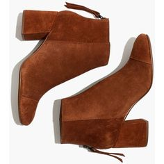 MADEWELL The Jillian Boot in Suede (54.960 HUF) found on Polyvore featuring women's fashion, shoes, boots, ankle booties, ankle boots, zapatos, maple syrup, suede ankle boots, high heel ankle booties and bootie boots