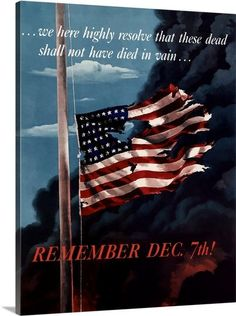 Digitally restored vector war propaganda poster. Remember December 7th! Solid-Faced Canvas Print