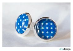 Cabochon - Earrings - blue dots
