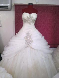 White and Gold Wedding. Sweetheart Corset Ballgown Dress. Gold crystal sweetheart corset tulle wedding ballgown dress