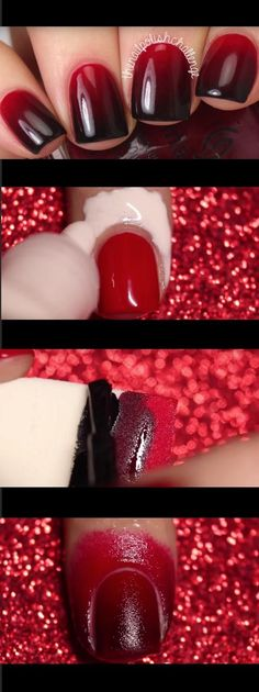 Super Easy Nail Art Ideas for Beginners - Red to Black Gradient Tutorial KELLI MARISSA - Simple Step By Step DIY Tutorials And Pictures For Nailart. Ideas For Every Style, All Hair Colors, Sparkle, Valentines, And other Awesome Products To Make It DIY and Super Easy - https://www.thegoddess.com/nail-art-ideas-beginners