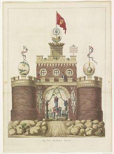 Anonymous | Algemene Wapening, decoratie op het Kadijksplein, 1795, Anonymous, Jan Bulthuis, Abraham van der Hart, 1795 | De Algemene Wapening, allegorische decoratie opgericht op het Kadijksplein te Amsterdam bij het Alliantiefeest op 19 juni 1795. Middeleeuwse burcht staande op rotsen, op de torens symbolen van de astronomie, hydrografie en geometrie, Op het chassinet in de onderdoorgang wordt de Vrijheid door Bataafse en Franse matrozen op een schild gehezen.
