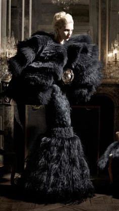 McQueen Black gown FW 2014 black furred & feathered
