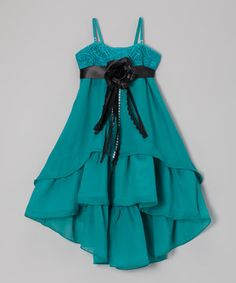 This Teal Rosette Hi-Low Dress & Eyelet Bolero - Toddler & Girls by Citlali's Choice is perfect! #zulilyfinds