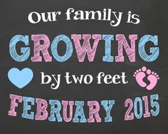 Pregnancy Announcement Chalkboard Poster // Our Family is Growing by Two Feet by PersonalizedChalk, $10.00