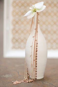 orchid vase, perfect white inspiration with golden details...