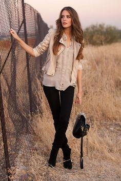 beige leather jacket outfits - Buscar con Google