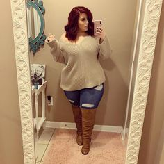 Plus size fall outfit - Sometimes a slouchy sweater is the answer! Outfit Deets Sweater Susan Th – Plus size fall outfit Plus Size Winter Outfits, Plus Size Fall Outfit, Plus Size Fashion For Women, Plus Size Outfits, Plus Size Women, Fall Outfits, Fashion Outfits, Plus Size Sweater Dress, Plus Size Winter Clothes