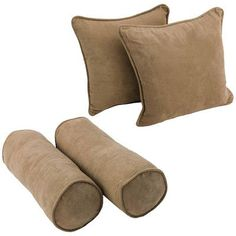 Blazing Needles 4 Piece Microsuede Throw/Bolster Pillow Set Fabric: Saddle Brown
