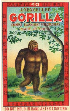 """Love the look of the packaging for the self-proclaimed """"unexcelled"""" brand of Gorilla flashlight firecrackers from China. Gorgeous blue-limbed ape."""