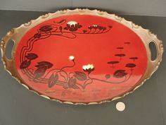 "Vintage 17 3/4"" Oval Copper and Porcelain Art Deco chrysanthemum Serving Tray"