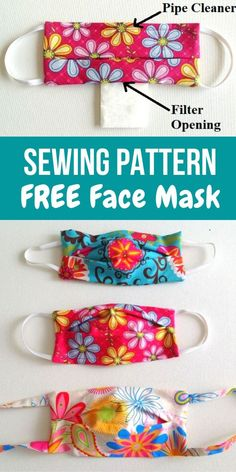 Learn how to sew face masks with filter pockets using this easy DIY tutorial. This mask sewing project will teach you to sew face masks without a temp Sewing Hacks, Sewing Tutorials, Sewing Crafts, Sewing Projects, Sewing Tips, Easy Face Masks, Diy Face Mask, Diy Masque, Diy Couture