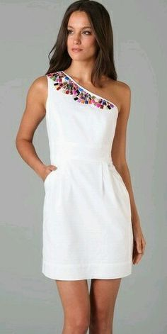 White dress with Mexican flowers on top
