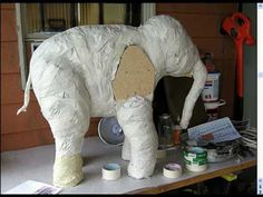 how to make a paper mache baby elephant