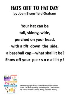 """Hats Off to Hat Day"" ©2015 Joan Bransfield Graham from THE POETRY FRIDAY ANTHOLOGY®  FOR CELEBRATIONS by Sylvia Vardell and Janet Wong (© Pomelo Books, 2015)."