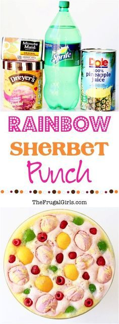 Rainbow Sherbet Punch Recipe! ~ at TheFrugalGirls.com ~ this delicious punch is so EASY to make, and the perfect drink for your Baby Shower, Bridal Shower, or Birthday Party!  It's always the star of any get-together!!
