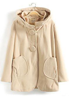 / Beige Collar With Hat Wool Coat