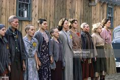 Cast members line up in a scene from Playing for Time, 1980. Among them are, from second left, Vanessa Redgrave, Faith Catlin, Robin Bartlett, Marcell Rosenblatt, Jane Alexander, Christine Baranski, Verna Bloom, and Mady Kaplan (second right).
