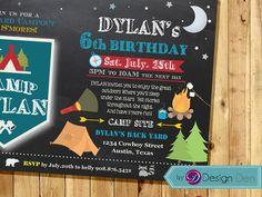 CAMPING Birthday Invitations. Backyard Camping. by ByDesignDen