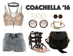 """Coachella Day 1"" by anaelle2 ❤ liked on Polyvore featuring Valentino, Chloé, Levi's, Etro, Vanessa Mooney, Yves Saint Laurent, Miu Miu, Maria Black, Givenchy and ASOS"