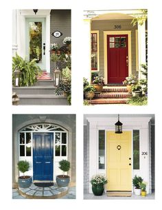 Who wouldn't want to knock on these doors??    Full Plate Living: Pop 'o Color - Front Door Inspiration