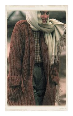 """Instant Download PDF Quick Easy Vintage Eighties KNITTING PATTERN  to make a Chunky Ribbed Thigh length Jacket Cardigan up to 40"""" Bust"""