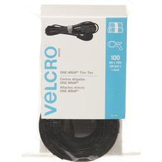 """VELCRO Brand - ONE-WRAP Cable Management, Thin Self-Gripping Cable Ties: Reusable, Light Duty - 8"""" x 1/2"""" Ties, 100 Pack - Black"""