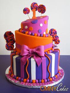 Fuchsia Orange Candyland Cake