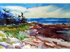 """""""Baker Island Vista"""": a framed watercolor by Becky Darling depicting a beautiful waterside scene. Bid now!  #paintthetownnh"""
