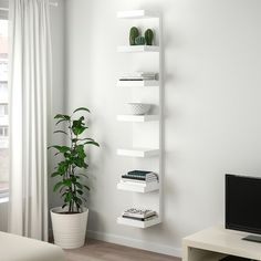 shelves for post LACK Wall shelf unit - white - IKEA Ikea Lack Wall Shelf, Lack Shelf, White Wall Shelves, Wall Shelf Unit, Shelves In Bedroom, Wall Shelf Decor, Wall Shelving, Ikea Wall Decor, Glass Shelves